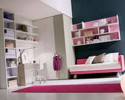 Wall Shelves For Girls Bedroom Furniture White Wooden Floating Corner Desk Connected By Red