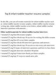 Childcare Resume Templates Infant Teacher Resume Perfect Resume 2017 In Toddler Teacher
