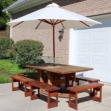 Drop Leaf Patio Table Redwood Drop Leaf Patio Table With Six Benches Canvas Umbrella