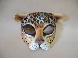 leopard or cheetah leather mask child or sizes