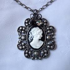 victorian cameo necklace images Jewelry black and white lady cameo victorian necklace poshmark jpg