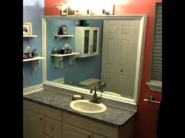 framing bathroom mirror with molding diy custom bathroom mirror frame with backsplash using crown