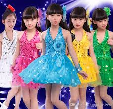 2017 new 2017 girls unequal lace latin dance dress children fancy