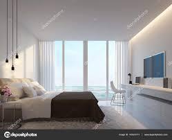chambre blanche moderne chambre blanche moderne avec image de rendu 3d de la vue mer