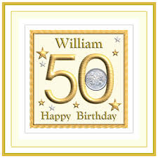 special personalised number 50 50th birthday cards with coins