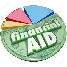 financial aid 3d words on a pie chart of money support