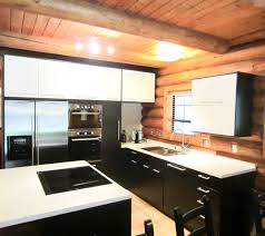 kitchen a kitchen with black and white concept is equipped with