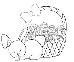 easter bunny baskets easter bunny coloring pages basket free online to print