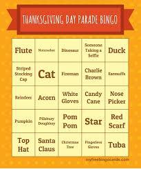 thanksgiving day parade bingo 2016 cards