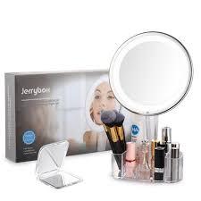 jerrybox led lighted makeup mirror with acrylic makeup organizer
