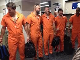 orange jumpsuit photo caption contest rookie dress up day orange jumpsuits