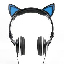 light up cat headphones amazon com cat headphones with light up ears in black
