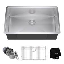 kraus undermount stainless steel 32 in single bowl kitchen sink kit khu100 32 the home depot