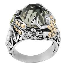 wedding ring indonesia handmade 18k gold and sterling silver prasiolite tropical frog