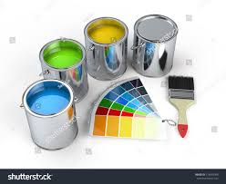 paint cans brush pantone color guide stock illustration 114059098