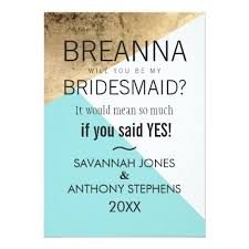 bridesmaids invites gold blue white geo triangles bridesmaids invites monogram