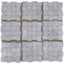 carrara white large basketweave mosaic tile w gray dots honed