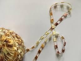skacel tropicana metallic ladder ribbon yarn 3004 yellow brown