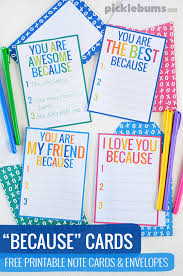 because cards free printable notecards and envelopes