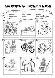 summer activities worksheet by eslandrea