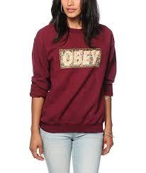 obey drug rug maroon crew neck sweatshirt zumiez