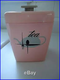 vintage pink plastic lustro ware kitchen canister set sears maid