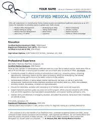 Sample Of A Job Resume by Medical Assistant Resume Berathen Com