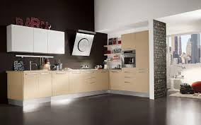 minimalist kitchen ideas with brown wall and white cabinet 334