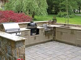 Zig Zag Floor L Exteriors Enjoyable Outdoor Kitchen Decor With L Shape Brick