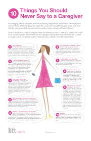 what to say to to be 10 things you should never say to a caregiver infographic the