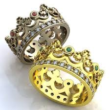 mens crown rings images Crown wedding bands emerald crown mens wedding band ruby crown jpg