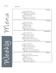weekly menu templates free sle menu template
