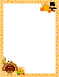 a page border for thanksgiving with a turkey pilgrim hat