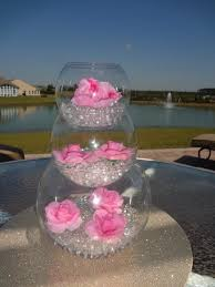 water centerpieces pink flower wedding centerpiece water design