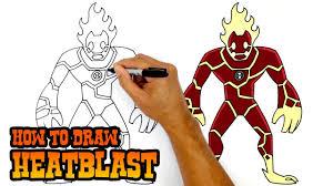 how to draw heatblast ben 10 youtube