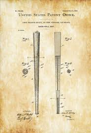 Wall Blueprints Baseball Bat Patent Patent Print Wall Decor Baseball Art Bat