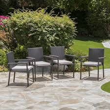 Patio Dining Chairs With Cushions Barrel Studio Stewartstown Stacking Patio Dining Chair With