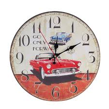 modern wooden wall clock rustic shabby chic home office decoration