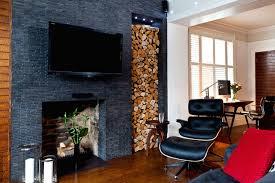 Living Room Design Tv Fireplace Modern Minimalist Living Room Design With Black False Stone Brick