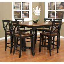 dining room black wood dining set with walnut top and seat for
