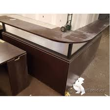 Espresso Reception Desk Espresso L Suite Reception Desk With Transaction Counter Allsold