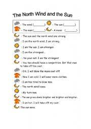 esl worksheets for beginners the north wind and the sun