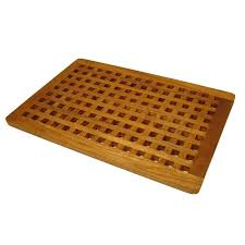 Teak Wood Shower Bench Aqua Teak Grate Bath Mat Hayneedle