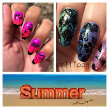 summer stamping collaboration beach holiday nails with