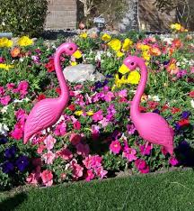 bright pink flamingo garden yard with stake ornament flamingo lawn
