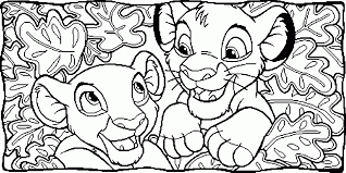 nala and simba between leaves coloring page animal pages of