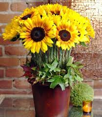 Sunflower Centerpiece Yellow Flower Eco Craft Ideas For Floral Table Decoration