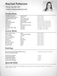 Acting Resume Maker Rachel Peterson Theatre Arts Baylor University