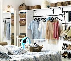 Closet Bed Frame Furniture Awesome Bedroom Design Using White Painted Metal Bed