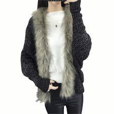 sweater with faux fur collar winter autumn fur cardigan sweater faux fur collar batwing